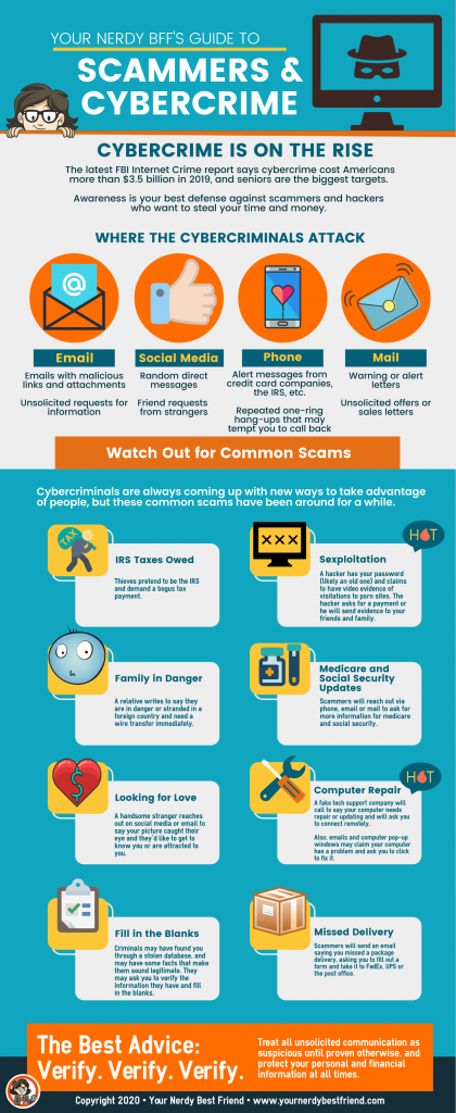 Cyber security and scammers infographic