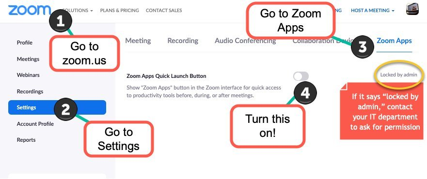 Enable Zoom Apps